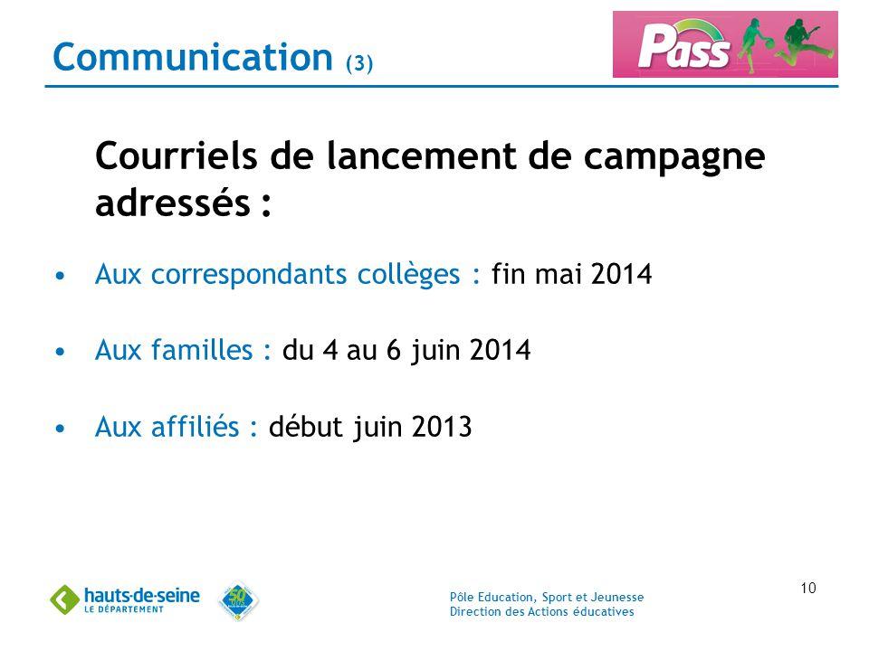 Pôle Education, Sport et Jeunesse Direction des Actions éducatives 10 Communication (3) Courriels de lancement de campagne adressés : Aux correspondan