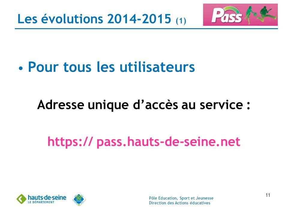 Pôle Education, Sport et Jeunesse Direction des Actions éducatives 11 Les évolutions 2014-2015 (1) Pour tous les utilisateurs Adresse unique d'accès a