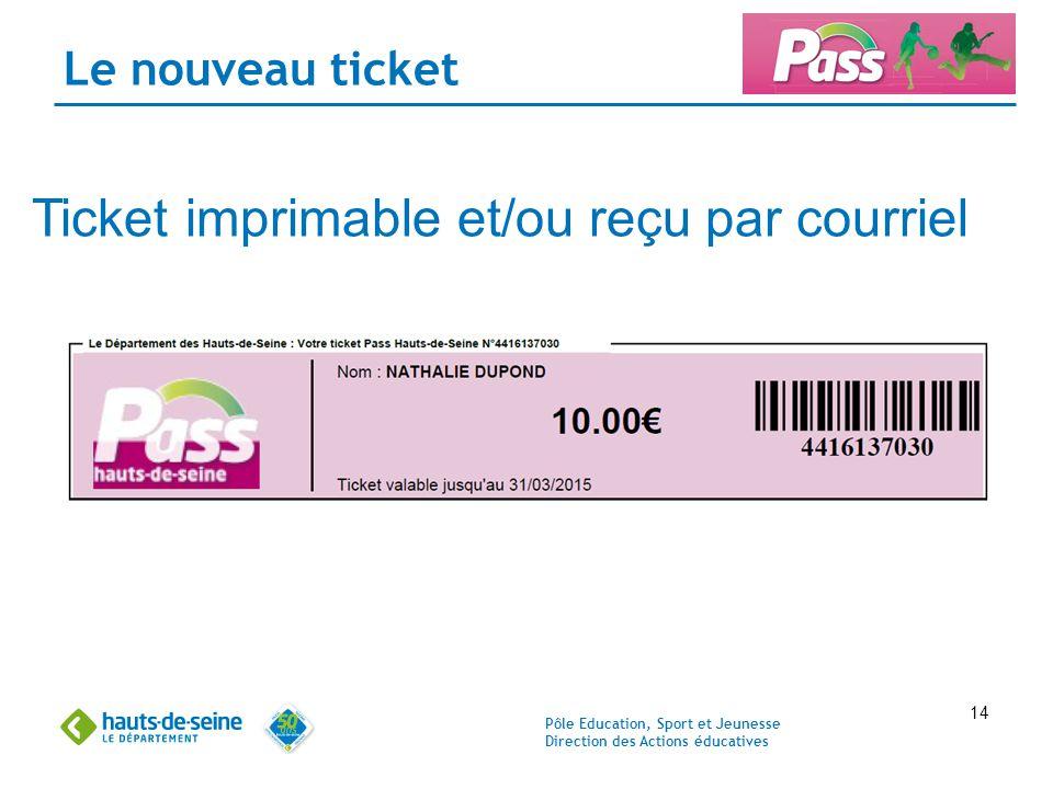 Pôle Education, Sport et Jeunesse Direction des Actions éducatives 14 Le nouveau ticket Ticket imprimable et/ou reçu par courriel
