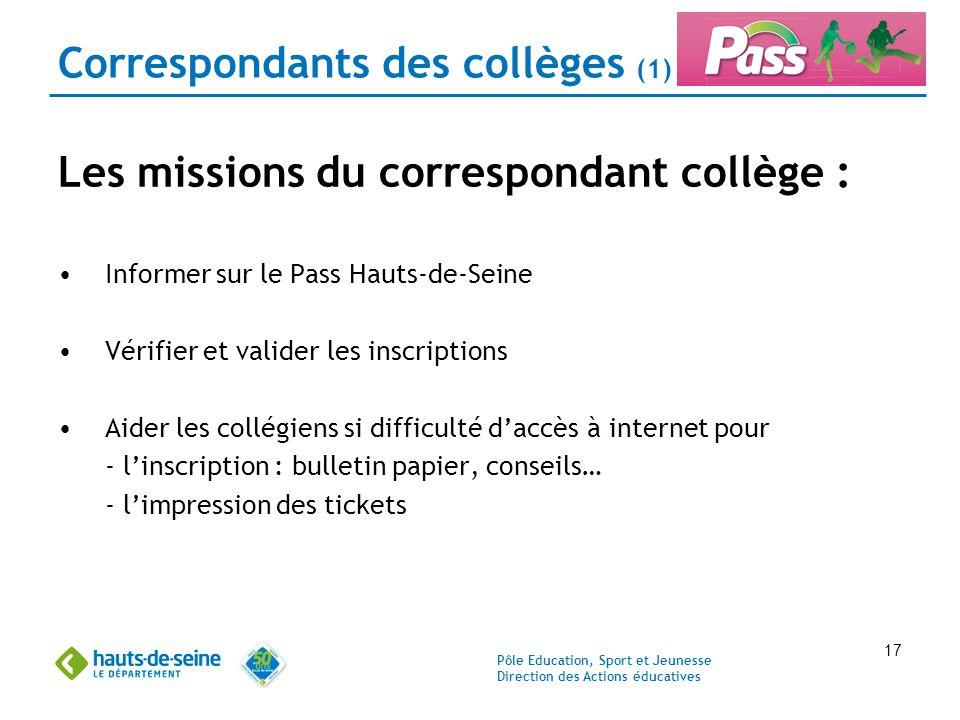 Pôle Education, Sport et Jeunesse Direction des Actions éducatives 17 Correspondants des collèges (1) Les missions du correspondant collège : Informer