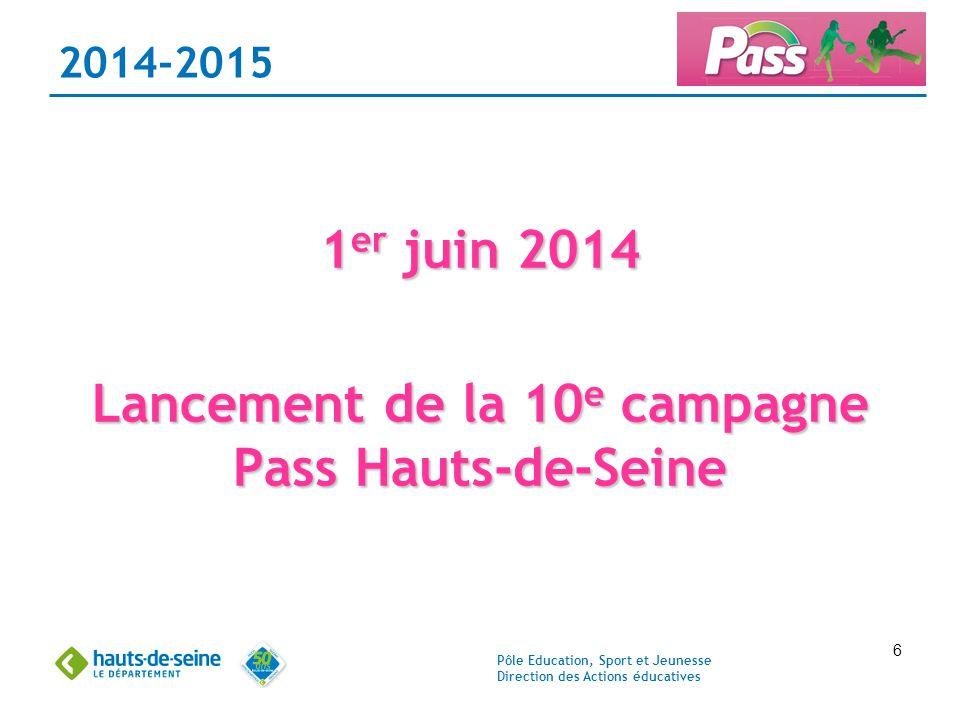 Pôle Education, Sport et Jeunesse Direction des Actions éducatives 6 2014-2015 1 er juin 2014 Lancement de la 10 e campagne Pass Hauts-de-Seine