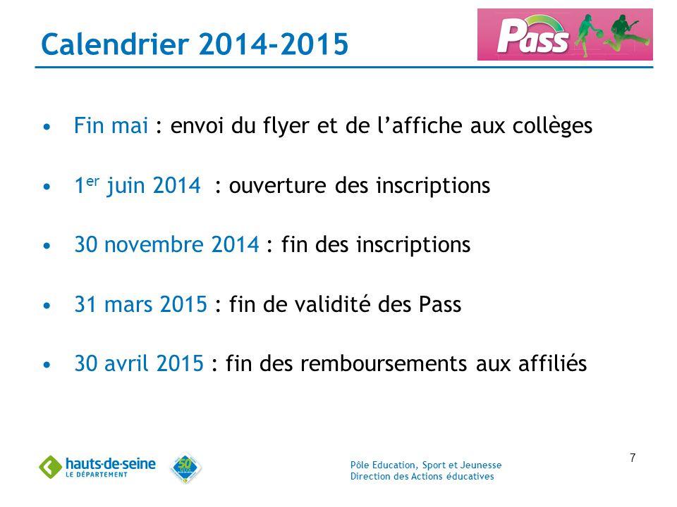 Pôle Education, Sport et Jeunesse Direction des Actions éducatives 7 Calendrier 2014-2015 Fin mai : envoi du flyer et de l'affiche aux collèges 1 er j