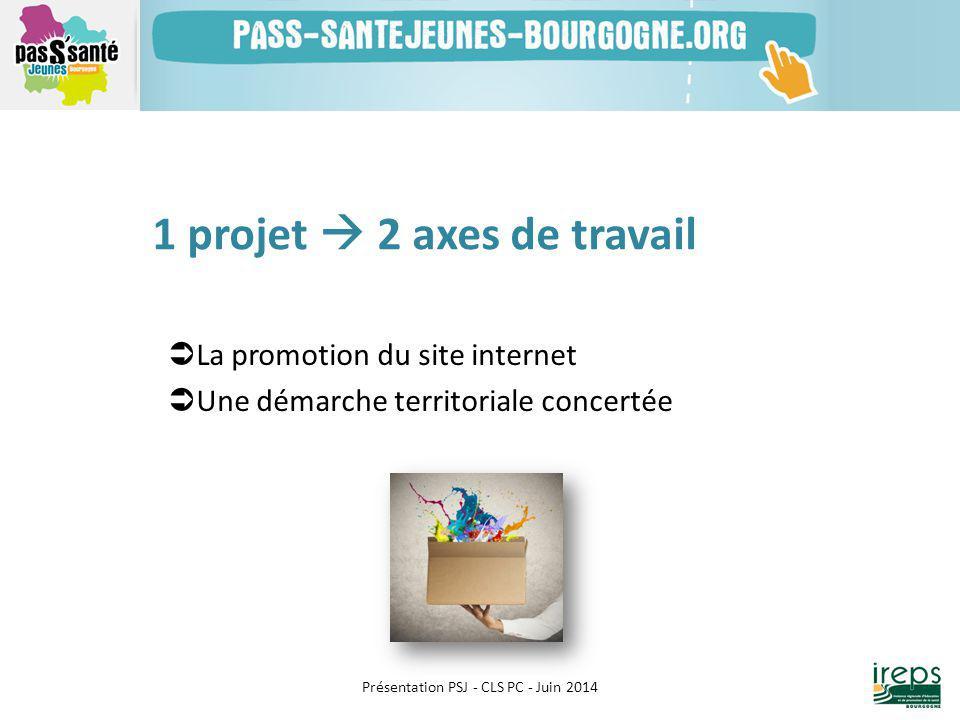  La promotion du site internet  Une démarche territoriale concertée Présentation PSJ - CLS PC - Juin 2014 1 projet  2 axes de travail