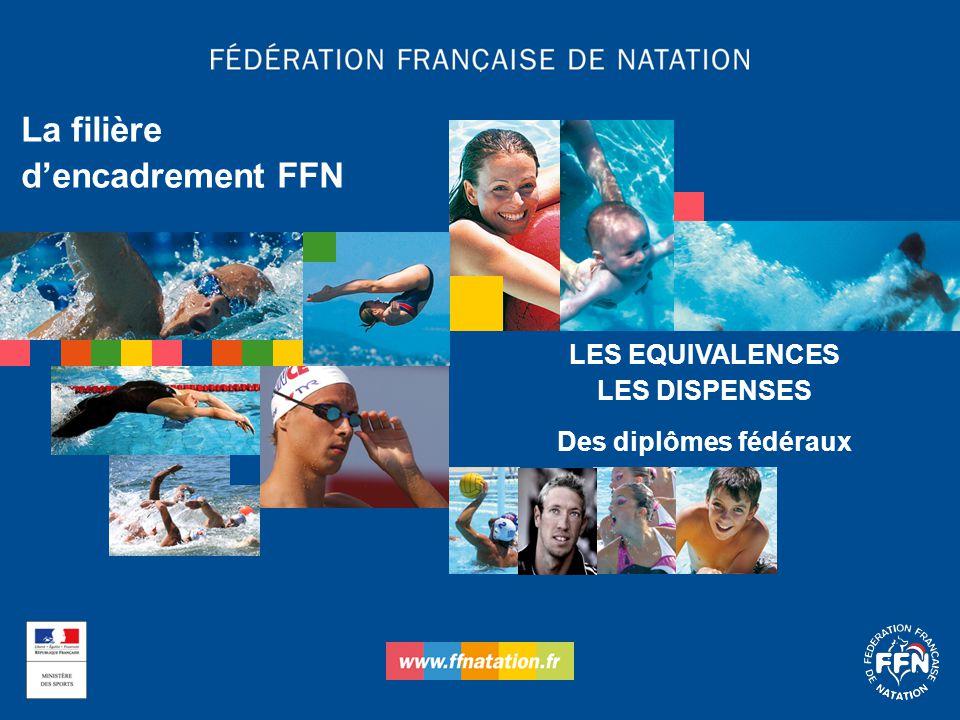 LES EQUIVALENCES LES DISPENSES Des diplômes fédéraux La filière d'encadrement FFN