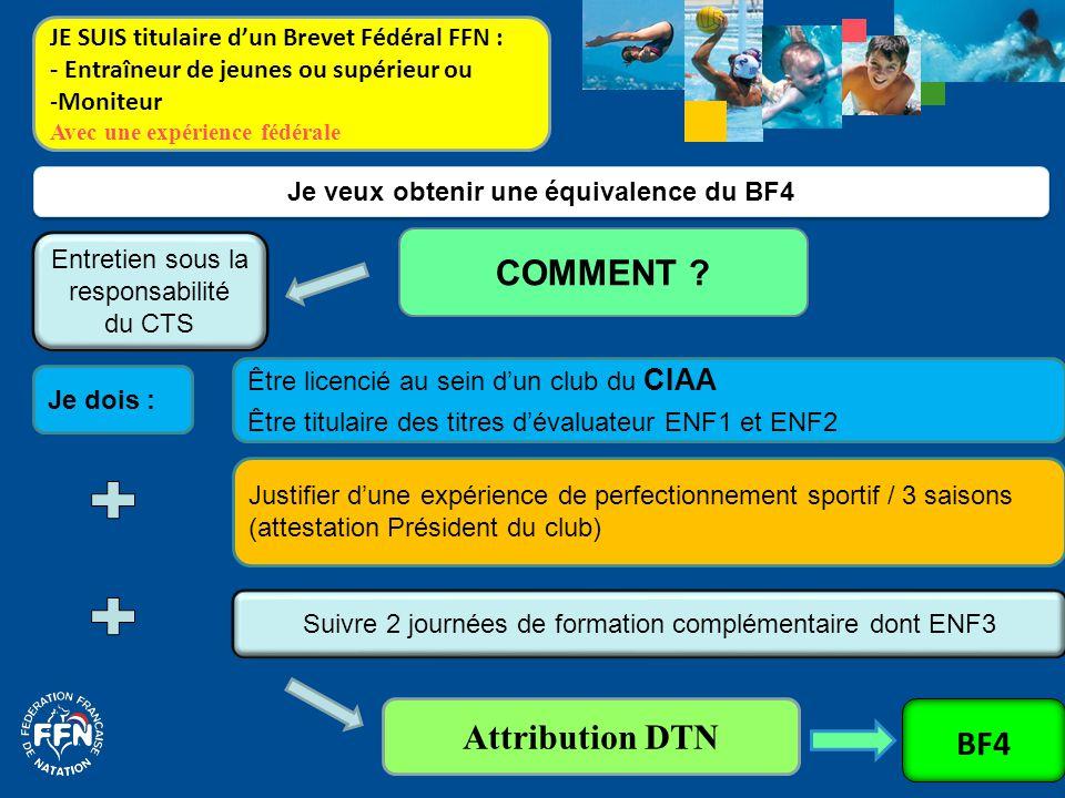 Je dois : Je veux obtenir une équivalence du BF4 COMMENT ? Suivre 2 journées de formation complémentaire dont ENF3 Attribution DTN Justifier d'une exp