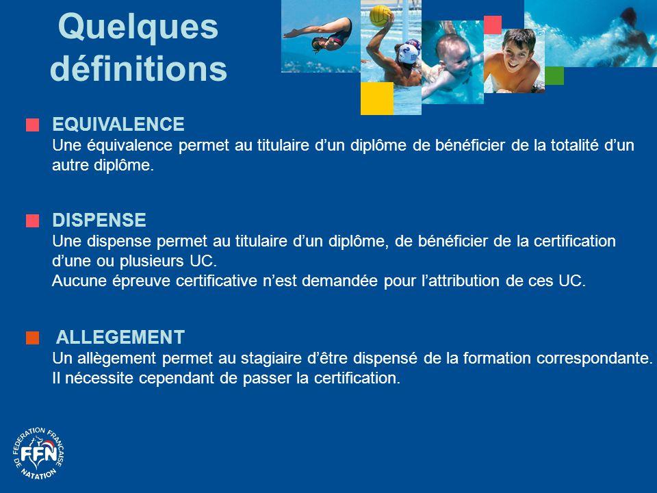 La sécurité POUR TOUTE DEMANDE D'EQUIVALENCE La personne doit produire une certification en cours de validité attestant de la capacité à secourir une personne en difficulté dans l'eau.