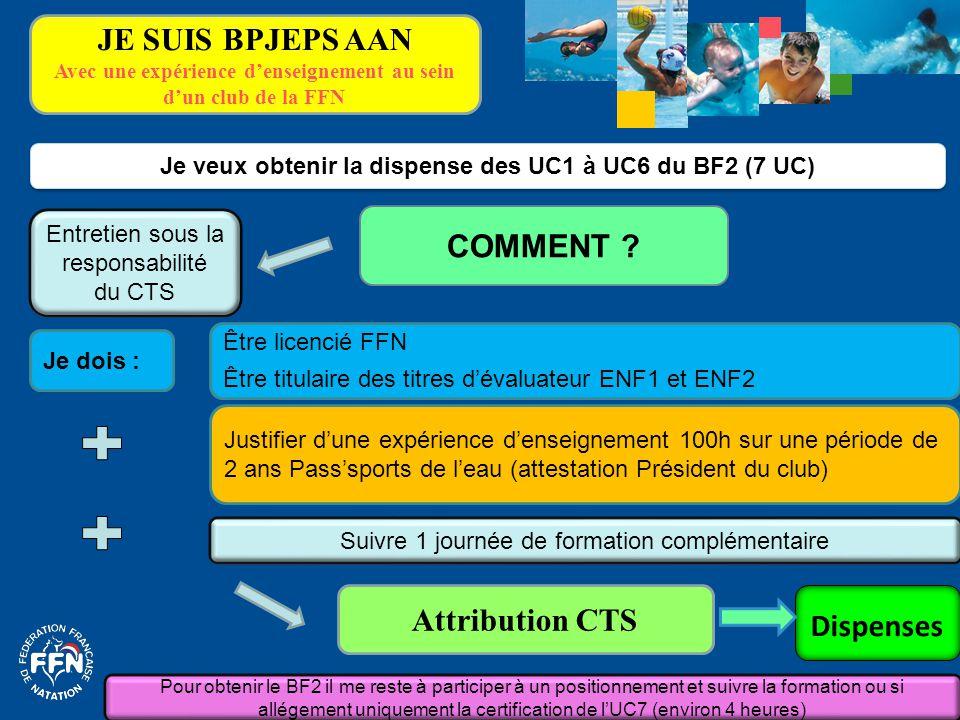 Je dois : Je veux obtenir la dispense des UC1 à UC6 du BF2 (7 UC) COMMENT ? Suivre 1 journée de formation complémentaire Attribution CTS Justifier d'u