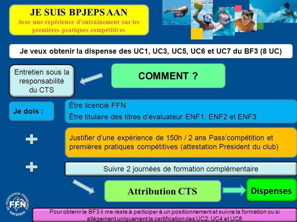Je dois : Je veux obtenir la dispense des UC1, UC3, UC5, UC6 et UC7 du BF3 (8 UC) COMMENT ? Suivre 2 journées de formation complémentaire Attribution