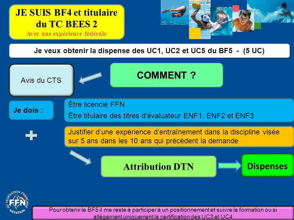 Je dois : Je veux obtenir la dispense des UC1, UC2 et UC5 du BF5 - (5 UC) COMMENT ? Attribution DTN Justifier d'une expérience d'entraînement dans la