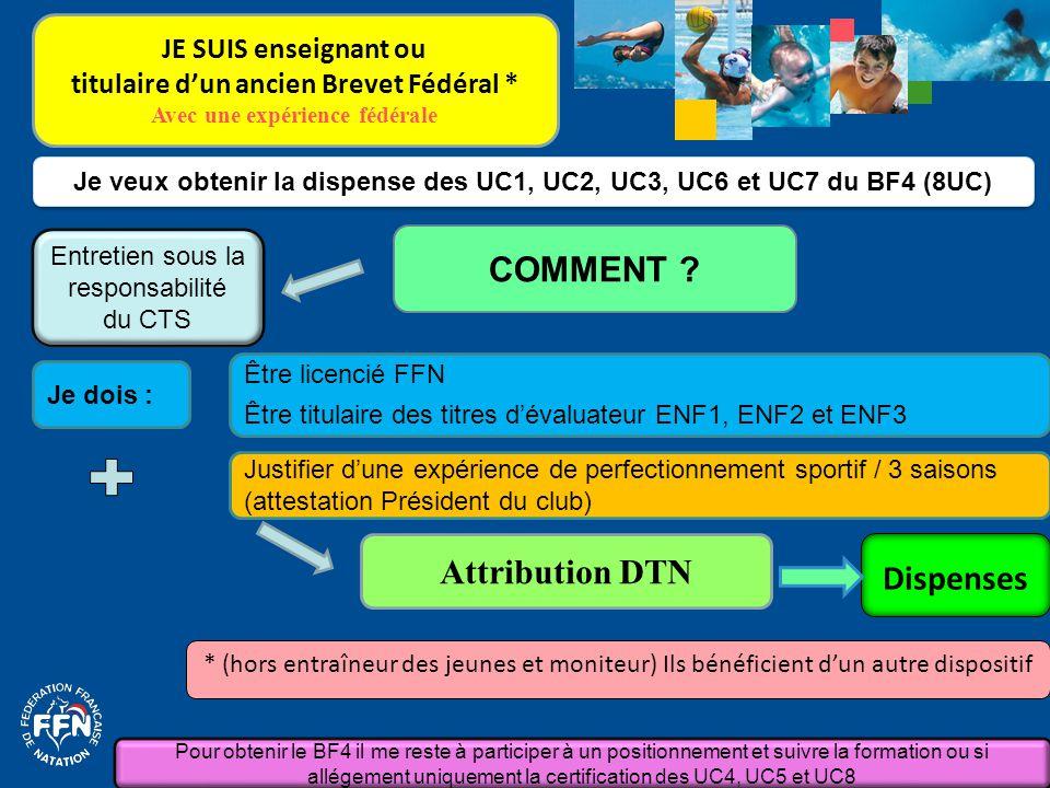 Je dois : Je veux obtenir la dispense des UC1, UC2, UC3, UC6 et UC7 du BF4 (8UC) COMMENT ? Attribution DTN Justifier d'une expérience de perfectionnem