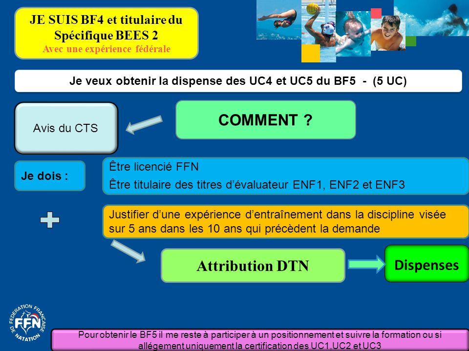 Je dois : Je veux obtenir la dispense des UC4 et UC5 du BF5 - (5 UC) COMMENT ? Attribution DTN Justifier d'une expérience d'entraînement dans la disci