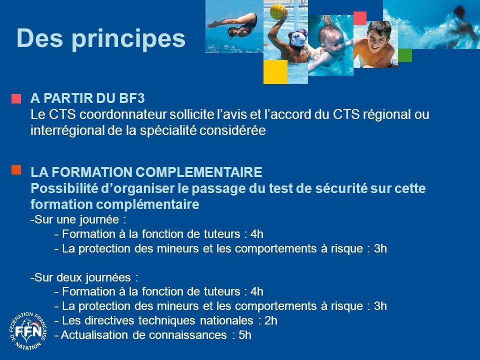 Des principes A PARTIR DU BF3 Le CTS coordonnateur sollicite l'avis et l'accord du CTS régional ou interrégional de la spécialité considérée LA FORMAT