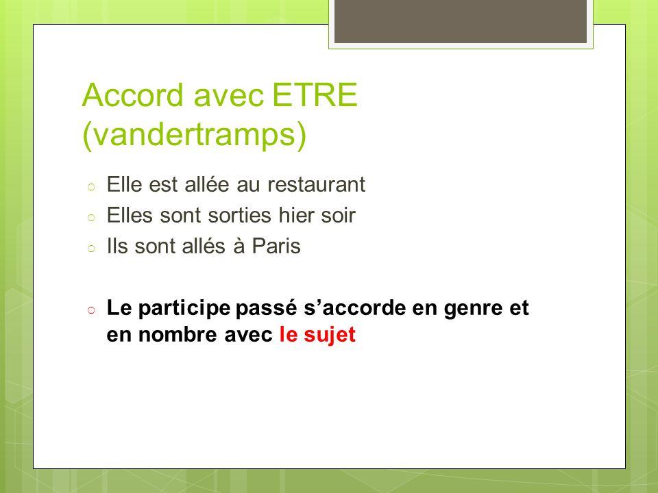 Accord avec ETRE (vandertramps) ○ Elle est allée au restaurant ○ Elles sont sorties hier soir ○ Ils sont allés à Paris ○ Le participe passé s'accorde
