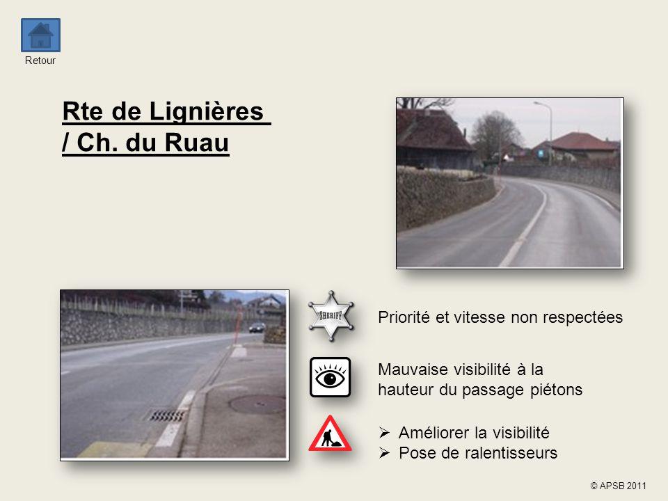 Retour © APSB 2011 Rte de Lignières / Ch. du Ruau Mauvaise visibilité à la hauteur du passage piétons  Améliorer la visibilité  Pose de ralentisseur