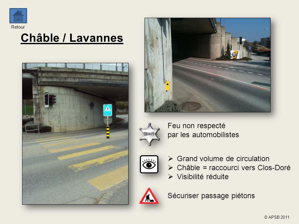 Retour © APSB 2011 Châble / Lavannes Feu non respecté par les automobilistes Sécuriser passage piétons  Grand volume de circulation  Châble = raccou