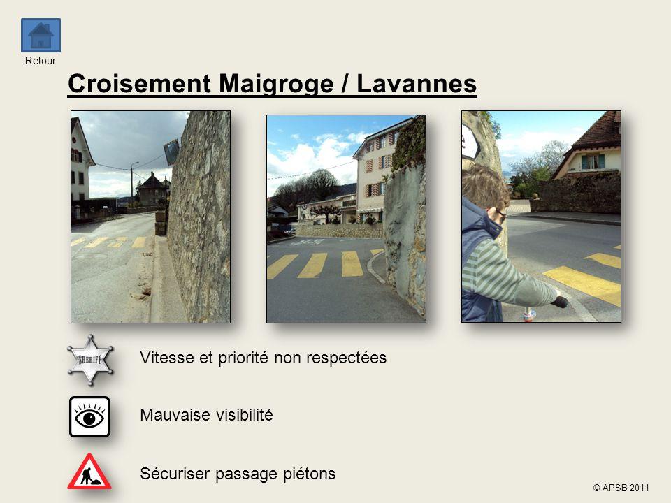 Retour © APSB 2011 Croisement Maigroge / Lavannes Mauvaise visibilité Sécuriser passage piétons Vitesse et priorité non respectées