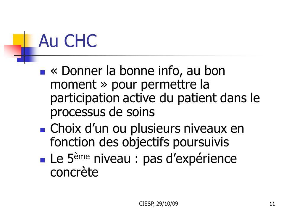 CIESP, 29/10/0911 Au CHC « Donner la bonne info, au bon moment » pour permettre la participation active du patient dans le processus de soins Choix d'