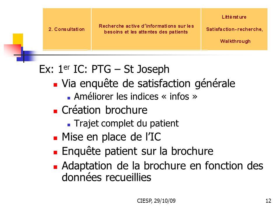 CIESP, 29/10/0912 Ex: 1 er IC: PTG – St Joseph Via enquête de satisfaction générale Améliorer les indices « infos » Création brochure Trajet complet d