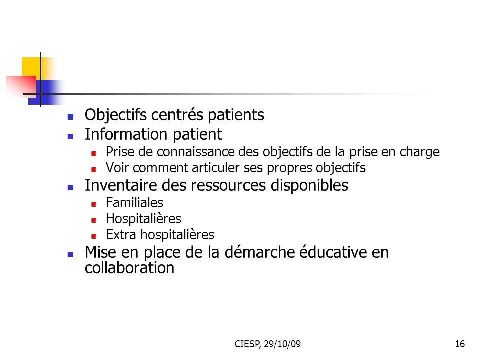 CIESP, 29/10/0916 Objectifs centrés patients Information patient Prise de connaissance des objectifs de la prise en charge Voir comment articuler ses