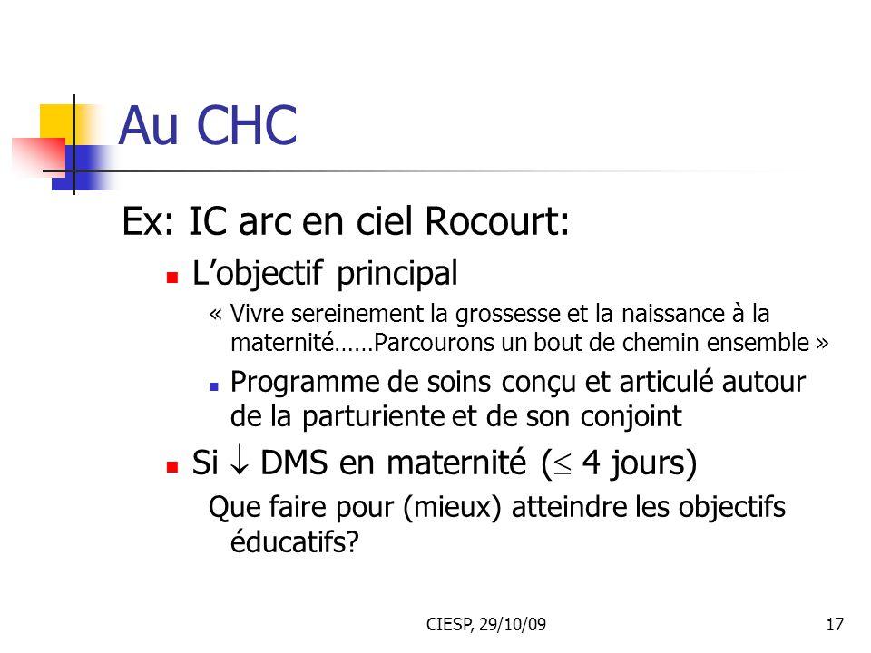 CIESP, 29/10/0917 Au CHC Ex: IC arc en ciel Rocourt: L'objectif principal « Vivre sereinement la grossesse et la naissance à la maternité……Parcourons