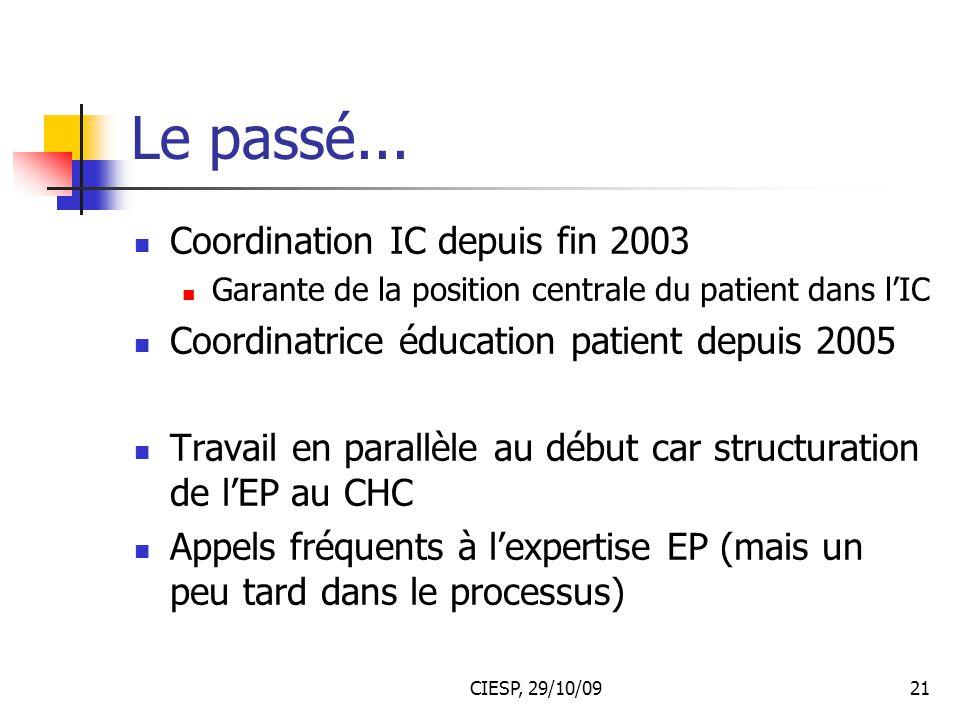 CIESP, 29/10/0921 Le passé... Coordination IC depuis fin 2003 Garante de la position centrale du patient dans l'IC Coordinatrice éducation patient dep