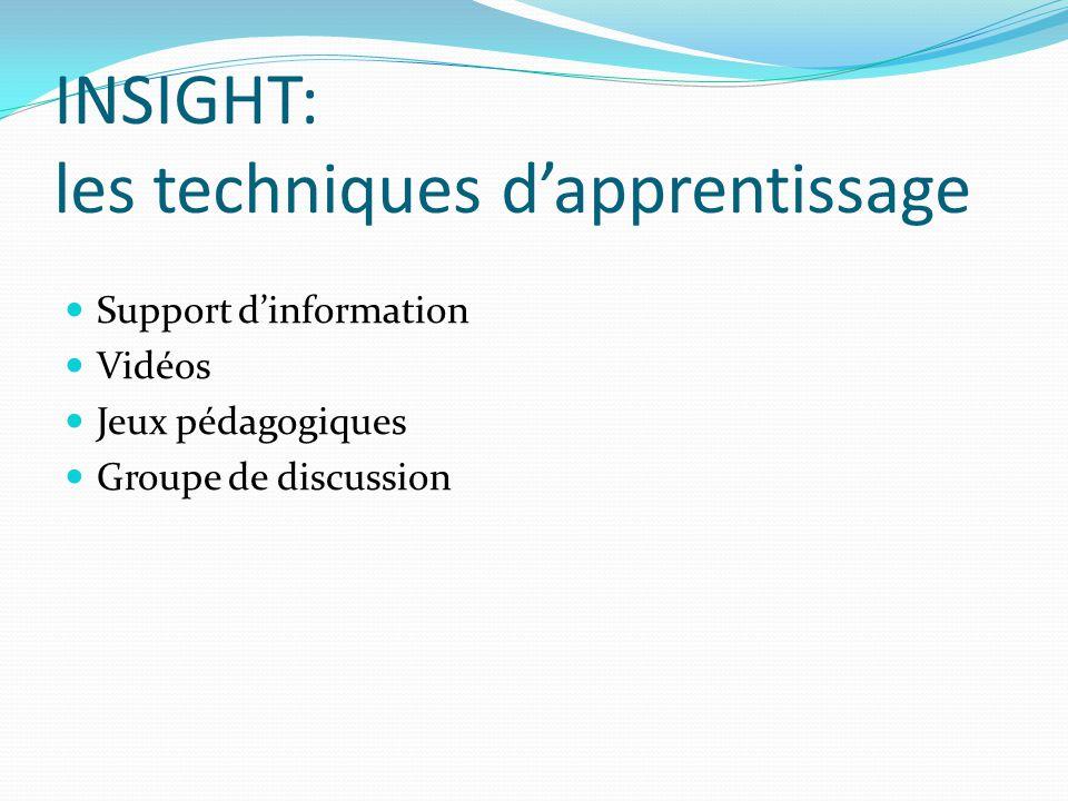 INSIGHT: les techniques d'apprentissage Support d'information Vidéos Jeux pédagogiques Groupe de discussion