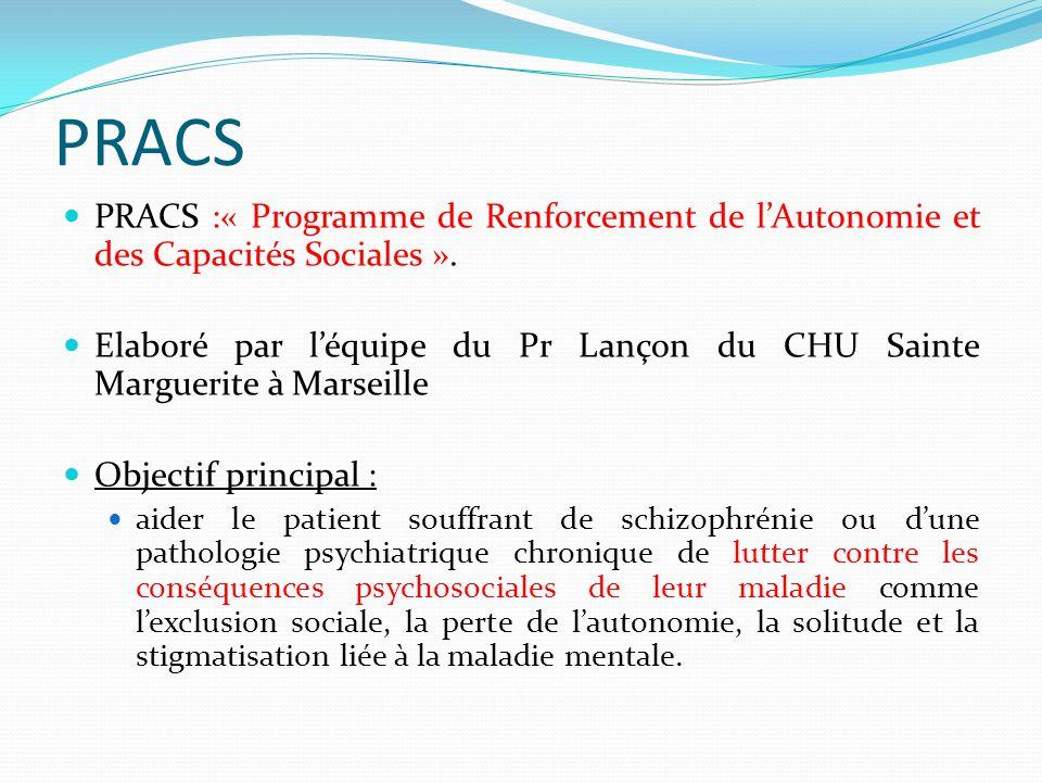 PRACS PRACS :« Programme de Renforcement de l'Autonomie et des Capacités Sociales ». Elaboré par l'équipe du Pr Lançon du CHU Sainte Marguerite à Mars