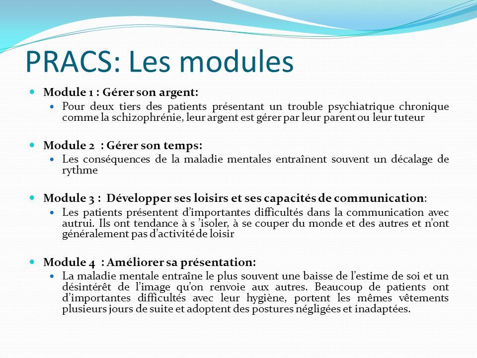 PRACS: Les modules Module 1 : Gérer son argent: Pour deux tiers des patients présentant un trouble psychiatrique chronique comme la schizophrénie, leu