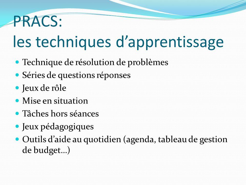 PRACS: les techniques d'apprentissage Technique de résolution de problèmes Séries de questions réponses Jeux de rôle Mise en situation Tâches hors séa