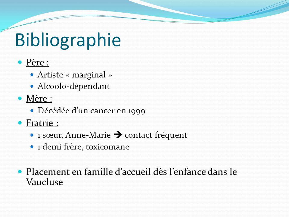 Bibliographie Père : Artiste « marginal » Alcoolo-dépendant Mère : Décédée d'un cancer en 1999 Fratrie : 1 sœur, Anne-Marie  contact fréquent 1 demi