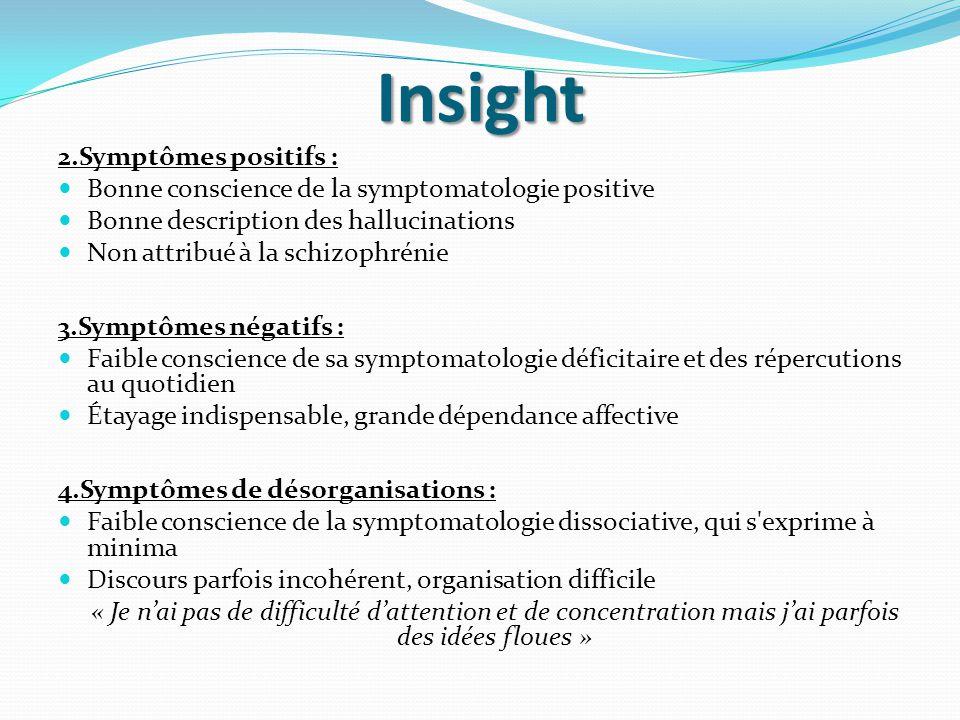 Insight 2.Symptômes positifs : Bonne conscience de la symptomatologie positive Bonne description des hallucinations Non attribué à la schizophrénie 3.