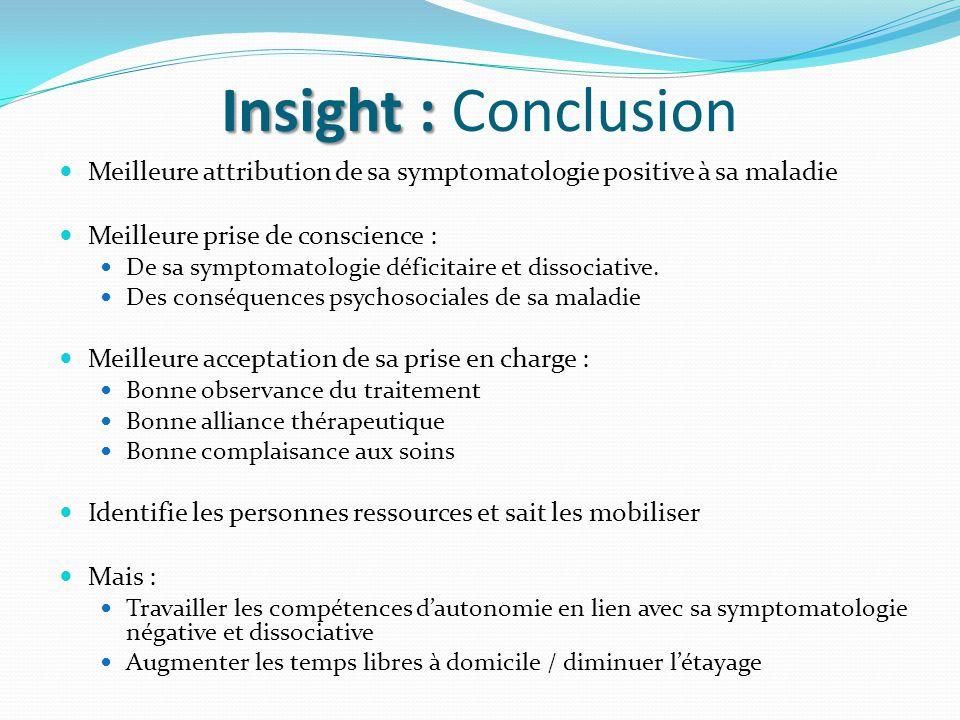 Insight : Insight : Conclusion Meilleure attribution de sa symptomatologie positive à sa maladie Meilleure prise de conscience : De sa symptomatologie