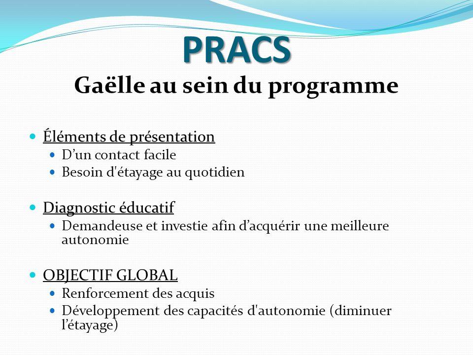 PRACS Gaëlle au sein du programme Éléments de présentation D'un contact facile Besoin d'étayage au quotidien Diagnostic éducatif Demandeuse et investi