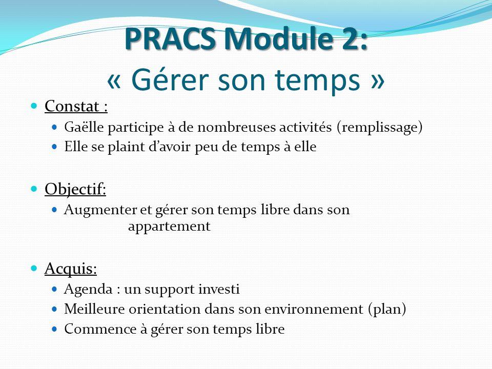 PRACS Module 2: PRACS Module 2: « Gérer son temps » Constat : Gaëlle participe à de nombreuses activités (remplissage) Elle se plaint d'avoir peu de t