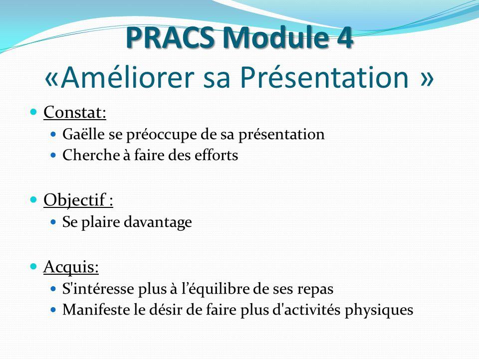 PRACS Module 4 PRACS Module 4 «Améliorer sa Présentation » Constat: Gaëlle se préoccupe de sa présentation Cherche à faire des efforts Objectif : Se p