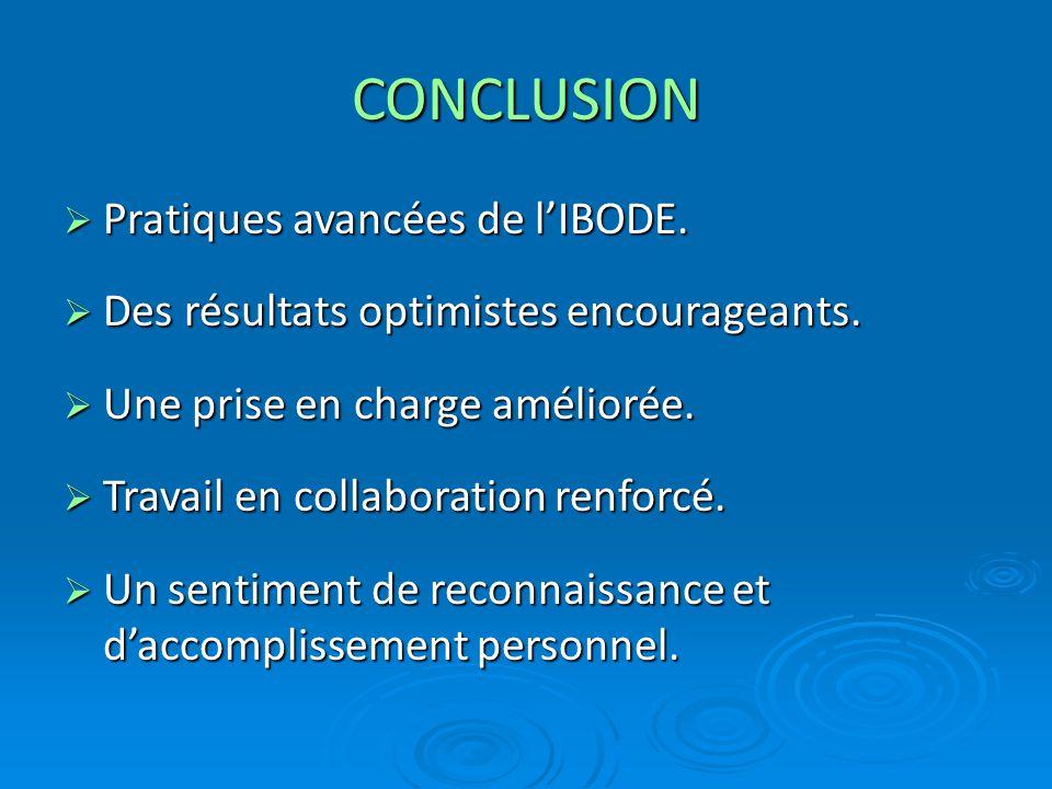 CONCLUSION  Pratiques avancées de l'IBODE.  Des résultats optimistes encourageants.  Une prise en charge améliorée.  Travail en collaboration renf