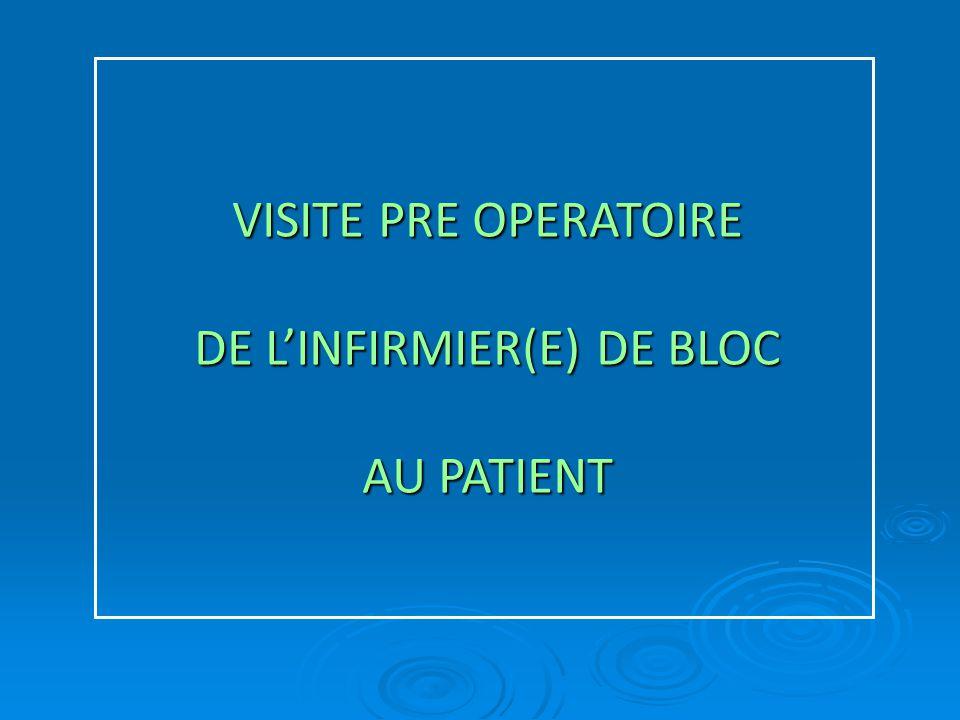 VISITE PRE OPERATOIRE DE L'INFIRMIER(E) DE BLOC AU PATIENT