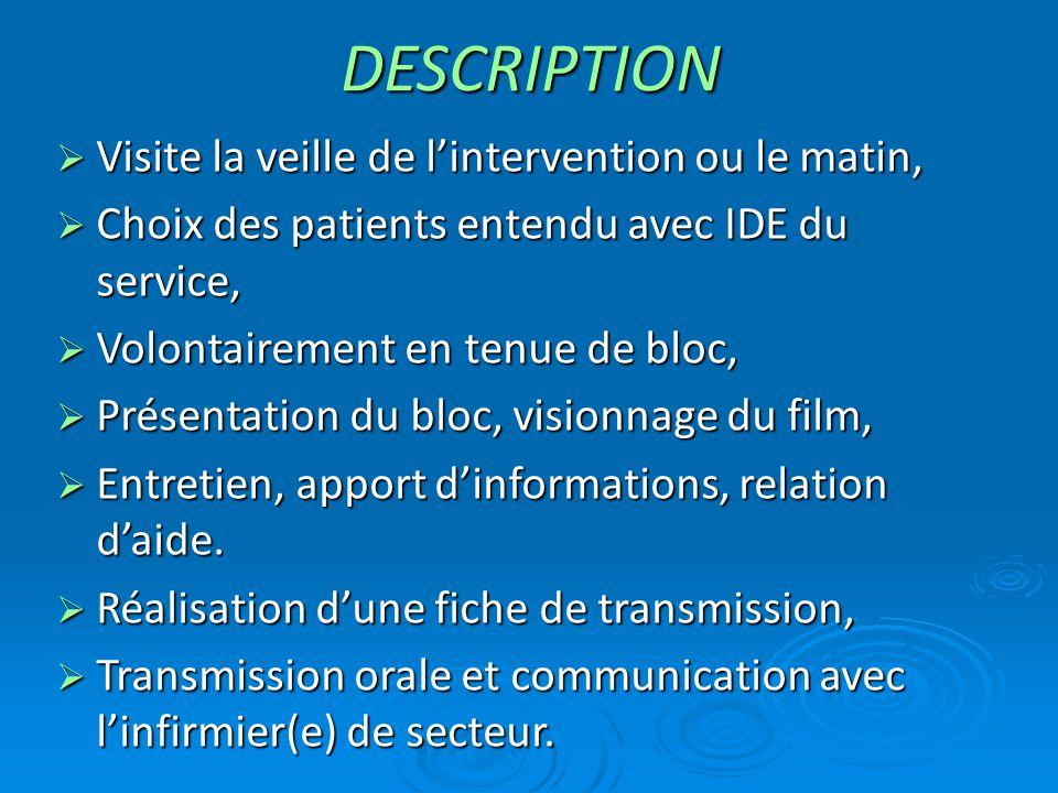 DESCRIPTION  Visite la veille de l'intervention ou le matin,  Choix des patients entendu avec IDE du service,  Volontairement en tenue de bloc,  P