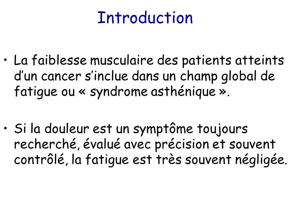 Introduction La faiblesse musculaire des patients atteints d'un cancer s'inclue dans un champ global de fatigue ou « syndrome asthénique ». Si la doul