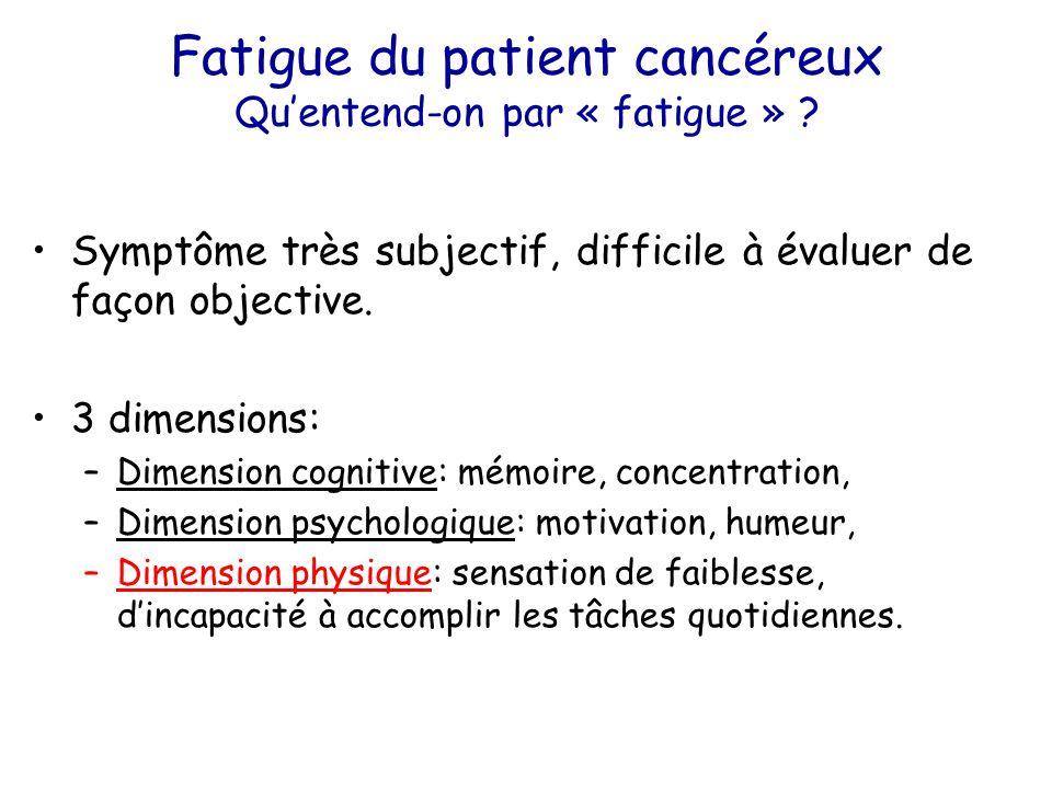 Fatigue du patient cancéreux Qu'entend-on par « fatigue » ? Symptôme très subjectif, difficile à évaluer de façon objective. 3 dimensions: –Dimension