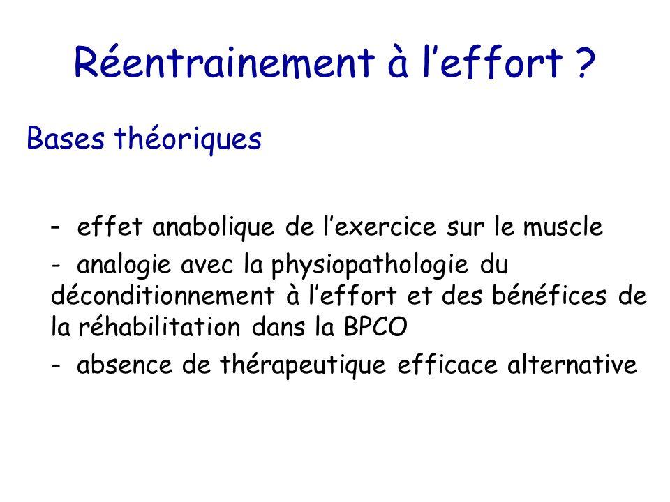 Réentrainement à l'effort ? Bases théoriques - effet anabolique de l'exercice sur le muscle - analogie avec la physiopathologie du déconditionnement à