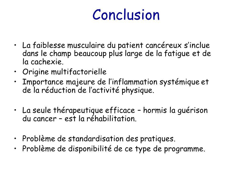 Conclusion La faiblesse musculaire du patient cancéreux s'inclue dans le champ beaucoup plus large de la fatigue et de la cachexie. Origine multifacto