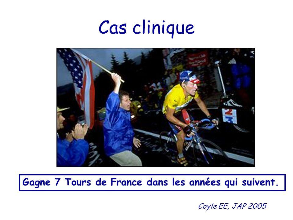 Cas clinique Gagne 7 Tours de France dans les années qui suivent. Coyle EE, JAP 2005