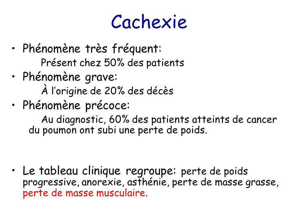 Cachexie Phénomène très fréquent: Présent chez 50% des patients Phénomène grave: À l'origine de 20% des décès Phénomène précoce: Au diagnostic, 60% de