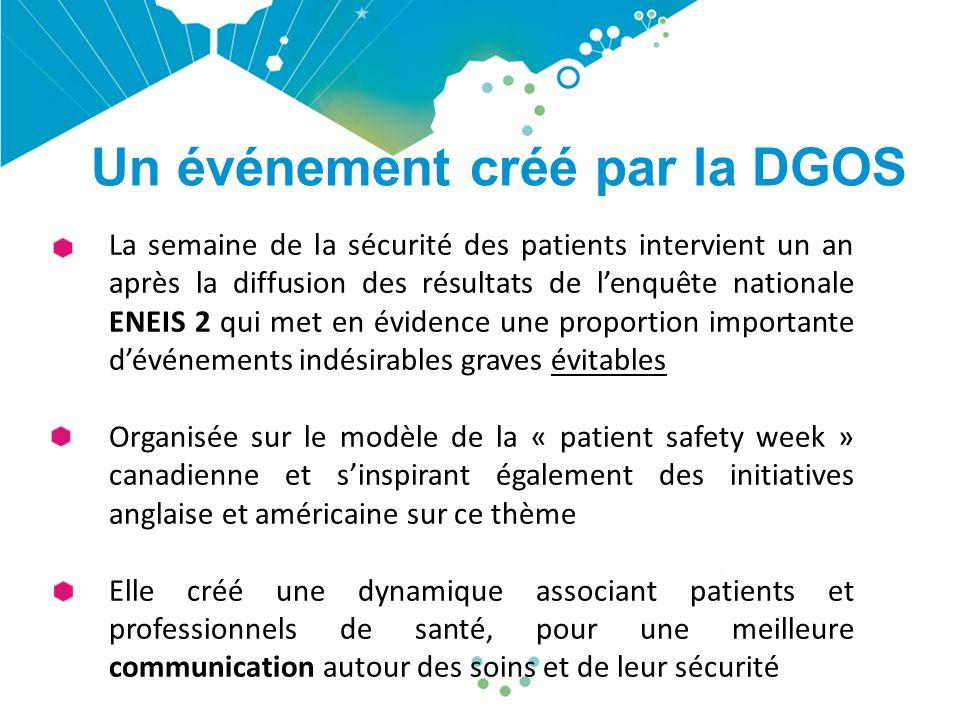 Un événement créé par la DGOS La semaine de la sécurité des patients intervient un an après la diffusion des résultats de l'enquête nationale ENEIS 2