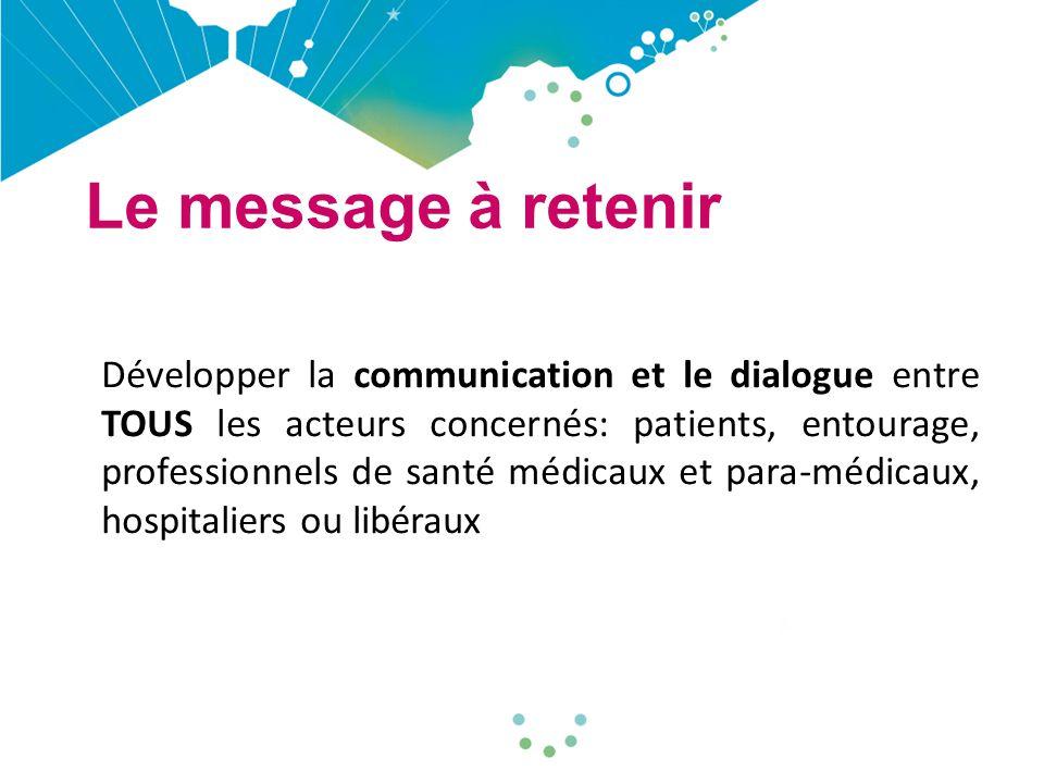 Le message à retenir Développer la communication et le dialogue entre TOUS les acteurs concernés: patients, entourage, professionnels de santé médicaux et para-médicaux, hospitaliers ou libéraux