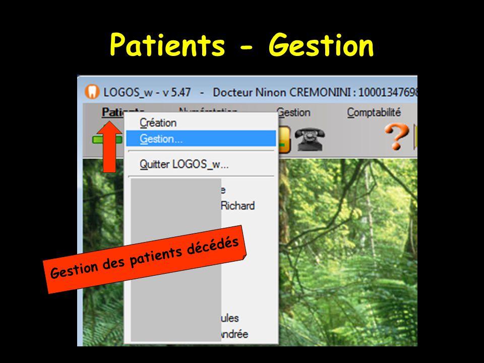  La fenêtre s'ouvre par défaut sur la liste des patients en cours