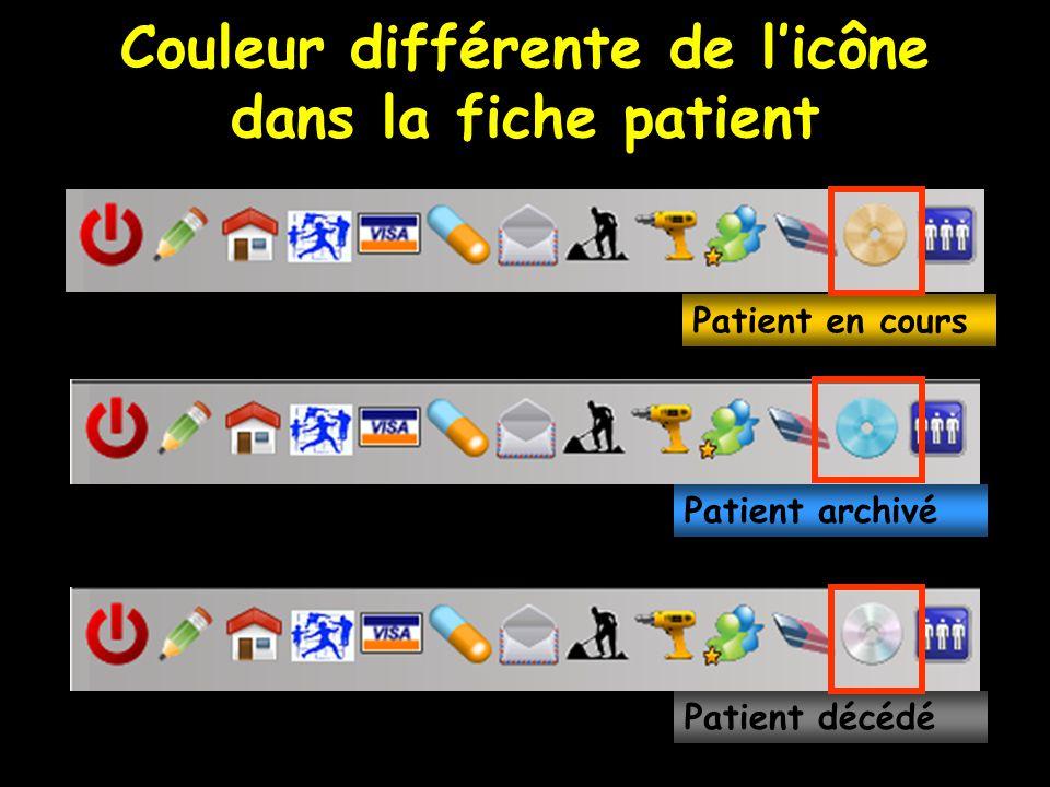 Couleur différente de l'icône dans la fiche patient Patient en cours Patient archivé Patient décédé