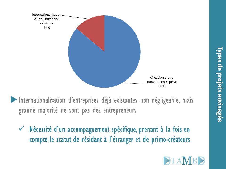  Internationalisation d'entreprises déjà existantes non négligeable, mais grande majorité ne sont pas des entrepreneurs Nécessité d'un accompagnement