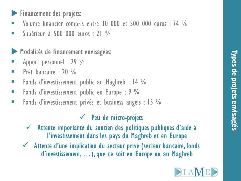 Types de projets envisagés  Financement des projets:  Volume financier compris entre 10 000 et 500 000 euros : 74 %  Supérieur à 500 000 euros : 21